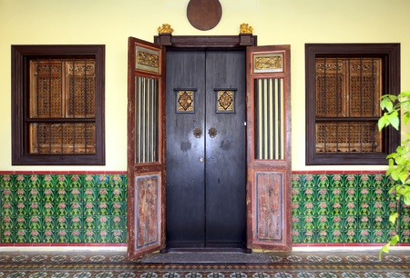 Traditional chinese entrance to home in Phuket town Stock Photo