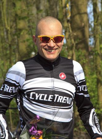 DORDRECHT, NETHERLANDS - APRIL 14 2012: Run Bike Run Bike Run duathlon event. Armand van der Smissen after his win in the dualthlon on Saturday 14 April 2012 in Dordrecht. Stock Photo - 13257709