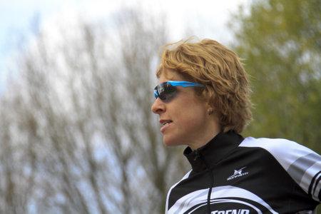 dordrecht: DORDRECHT, NETHERLANDS - APRIL 14 2012: Run Bike Run Bike Run duathlon event. Ruth van der meijden a contender in the dualthlon on Saturday 14 April 2012 in Dordrecht.