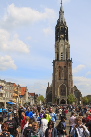 DELFT, NETHERLANDS - MAY 17 2012: The 25th edition Trompper Optiek Golden Tenloop on Thursday 17 May 2012. Competitors gathering before the race on the square in Delft Stock Photo - 13745355