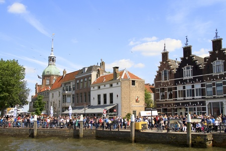 dordrecht: DORDRECHT, NETHERLANDS - JUNE 2 2012: Dordrecht in Steam, the largest steam power event in Europe. Crowds on the Groot Hoofd on Saturday 2 June 2012 in Dordrecht.