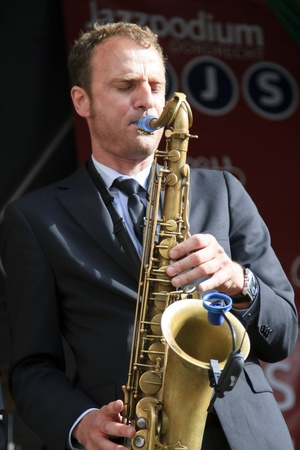 DORDRECHT, NETHERLANDS - JULY 15: Jeroen van Genuchten performing live on stage for The Jig at the Big Rivers Festival on Sunday 15 July 2012 in Dordrecht.