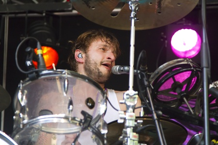 DORDRECHT, NETHERLANDS - JULY 15: Close-up of drummer, Iwan Dubrowski while on stage for the Memphis Maniacs at the Big Rivers Festival on Sunday 15 July 2012 in Dordrecht.