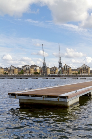 View across the water at Royal Victoria dock in east end of London, England