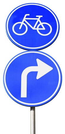 isolated dutch blue road sign with arrow turn right for bicycles