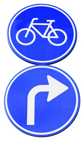 isolated dutch road sign with arrow turn right for bicycles Stock Photo