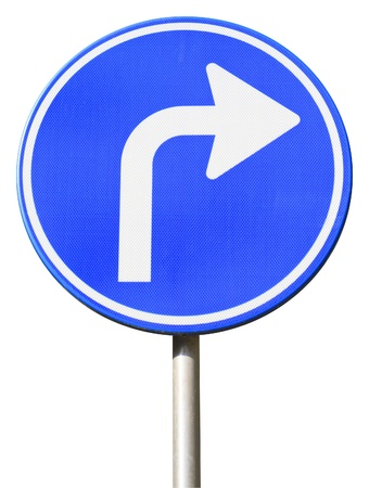 isolated dutch blue road sign with arrow turn right