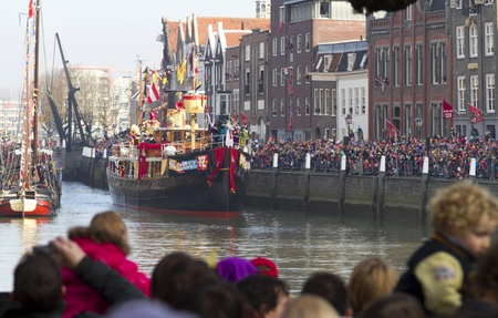 DORDRECHT, NETHERLANDS - NOVEMBER 12: Boat of Saint Nicolas entering  the harbor of Dordrecht for the Saint Nicolas parade on November 12, 2011 in Dordrecht, Netherlands. Editorial