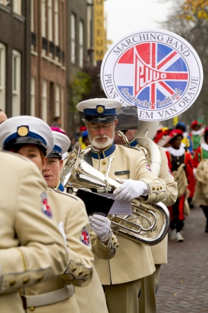 DORDRECHT, THE NETHERLANDS - NOVEMBER 18: Marching band, Prince Willem van Oranje, participating in a parade celebrating the arrival of Santa Claus on November 18, 2012 in Dordrecht, Netherlands.