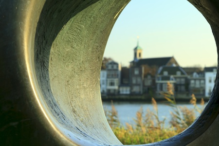 dordrecht: Abstract view of Dordrecht across the river looking through a stone tube Stock Photo