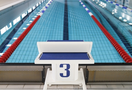 Starting block position number three in training swimming pool