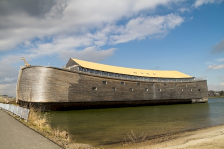 Dordrecht, The Netherlands - March 18, 2013: Just completed full-sized replica of Noah?s Ark docked ready for visitors in Dordrecht. This is John Huibers?, a famous Dutch building contractor, second ark; the first one, a half-sized replica was finished in