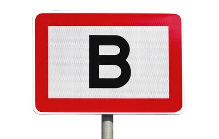 Public road sign in red and white with a capitol letter B in the center photo