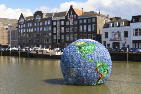 DORDRECHT, NETHERLANDS - AUGUST 11  Huge plastic globe, named World Litter, made from 6000 plastic bottles, aim is to draw attention to the problem of litter in oceans on August 11, 2013 in Dordrecht