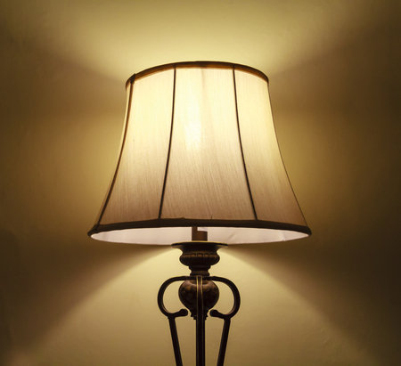 Retro lamp with yellow shade from canvas photo