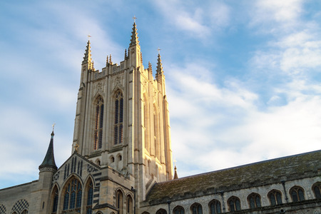 The tower of Bury St Edmunds cathedral in a soft light