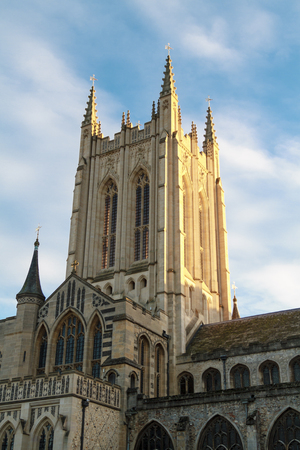 bury: The tower of Bury St Edmunds cathedral under an evening sun Stock Photo