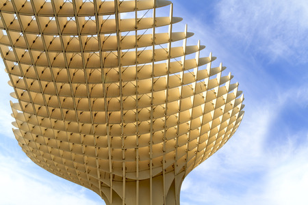 polyurethane: SEVILLE, SPAIN-MAY 09 2013  Metropol Parasol in Plaza de la Encarnacion  This wooden structure designed by J  Mayer-Hermann is made from bonded timber with a polyurethane coating