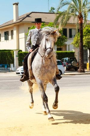 ヘレス デ ラ フロンテーラ、スペイン-5 月 12 2013年男性ライダー着飾って平たい帽子で彼の馬に跳ね、フェリア ・ デル ・ Caballon、3 週間続くスパイ