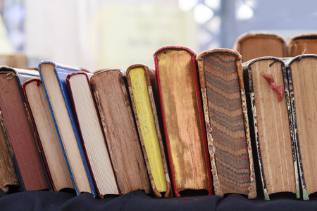 Second hand books leaning against each other for sale in a street book market photo