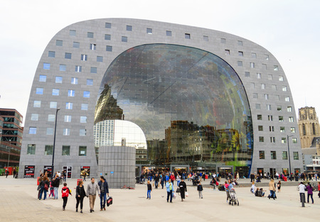ROTTERDAM, NETHERLANDS - OCTOBER 19, 2014: After 5 years of construction, the Market Hall is open. The Market Hall is the first covered market floor in the Netherlands and the largest in Europe.