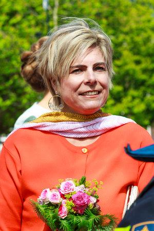 orange nassau: DORDRECHT, THE NETHERLANDS - APRIL 27, 2015: Princess Laurentien Brinkhorst during her visit to Dordrecht on the traditional Kings Day celebrations together with the Dutch royal family.