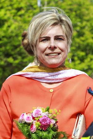 royal family: DORDRECHT, THE NETHERLANDS - APRIL 27, 2015: Princess Laurentien Brinkhorst during her visit to Dordrecht on the traditional Kings Day celebrations together with the Dutch royal family.