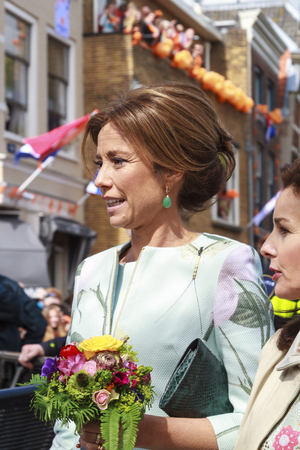 royal family: DORDRECHT, THE NETHERLANDS - APRIL 27, 2015: Princess Marilene van den Broek during her visit to Dordrecht on the traditional Kings Day celebrations together with the Dutch royal family.