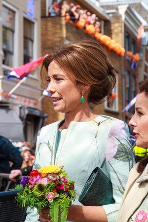 orange nassau: DORDRECHT, THE NETHERLANDS - APRIL 27, 2015: Princess Marilene van den Broek during her visit to Dordrecht on the traditional Kings Day celebrations together with the Dutch royal family.
