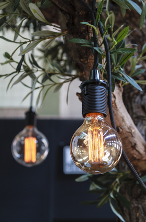 interior lighting: Interior Edison style lighting decoration with vintage electric light bulbs Stock Photo