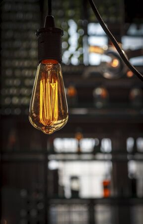 interior lighting: Interior lighting decoration with bokeh effect in cafe Stock Photo