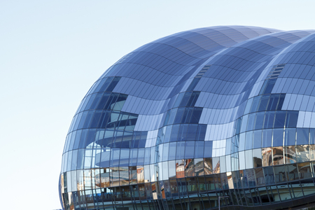 GATESHEAD, ENGLAND - DECEMBER 7 2014: Iconic roof of The Sage in Gateshead, centre for musical education and performance in the North East of England.