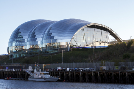 GATESHEAD, ENGLAND - DECEMBER 7 2014: The Sage in Gateshead, riverside centre for musical education and performance in the North East of England. Editorial