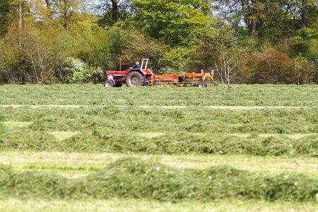 LEUSDEN NETHERLANDS - MAY 6 2016: Farmer on tractor pulling a grass mower cutter through a lush green field on a spring day.