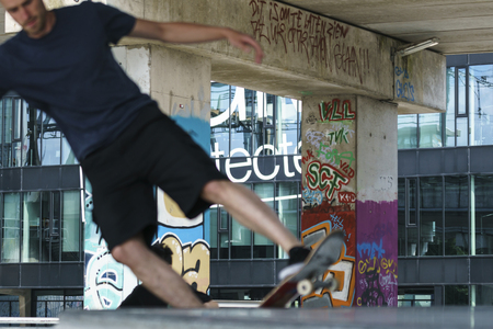 DORDRECHT, NETHERLANDS - 3 SEPTEMBER 2016: Fast skateboarder out of focus at the official opening of the new skateboard park in Dordrecht.