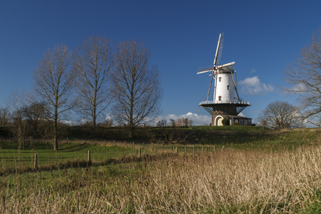 White windmill in Veere standing in the polder under winter sunlight. Stock Photo