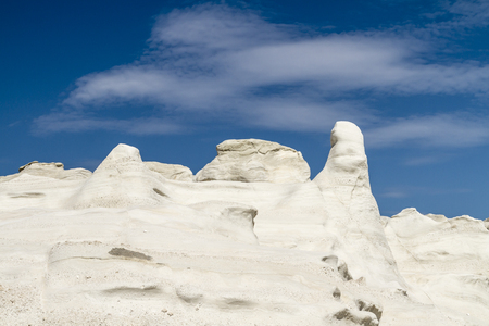White rocks of Sarakiniko on Milos island in the Cyclades