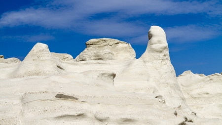 White volcanic rocks of Sarakiniko on Milos island in the Cyclades