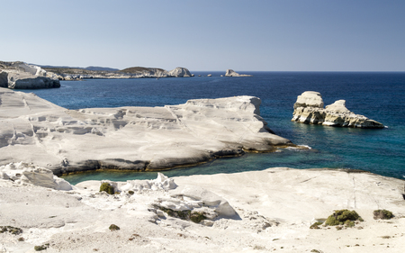 White Beach and coastline of Sarakiniko on Milos