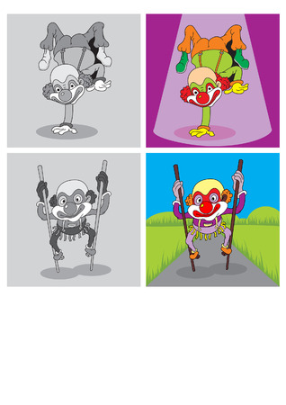 attraction clown standing on one hand and walking on bamboo Vector