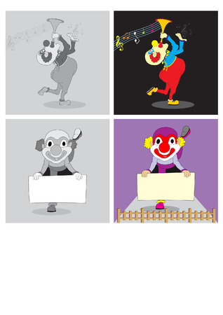 attraction clown playing music shows and attractions drawing paper with standing on one leg Vector