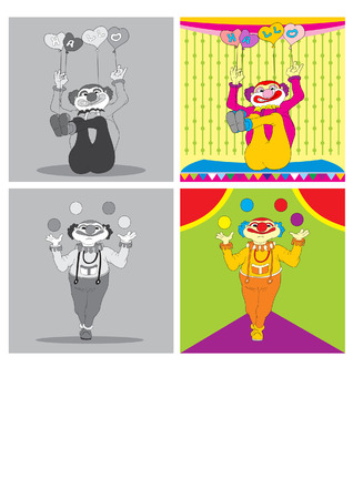 frizzy: vector illustration merry clown playing ball and balloon