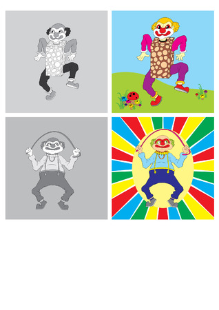 frizzy: vector illustration merry clown playing rope Illustration