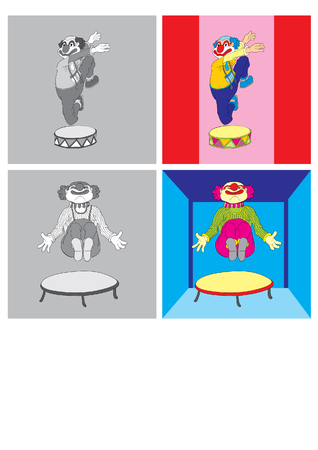 frizzy: vector illustration merry clown playing on mat
