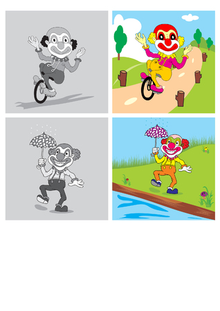 frizzy: vector illustration merry clown clown bike and play carefree use umbrellas