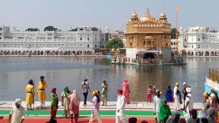 punjab: beautiful golden temple in Amritsar Punjab