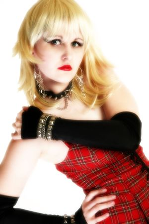 Beautiful 18 year old girl, long blonde hair, goth make-up. Stock Photo - 1998159