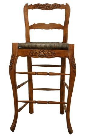 wicker bar: Tall wooden bar height chair over white.  wicker seat