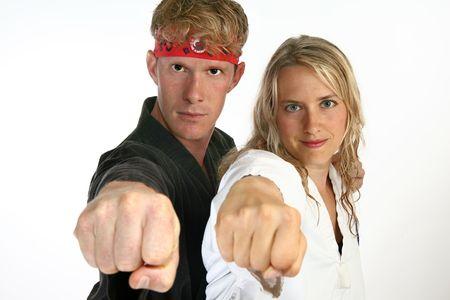 Martial arts man and woman