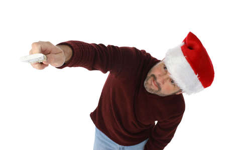 흰색 페인트 브러시로 그림 휴일 모자 남자가 뭔가. 브러쉬 및 손을 초점을.
